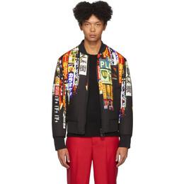 Neil Barrett Black and Multicolor Shinjuku-Soho Print Slim Bomber Jacket BSP469S M090