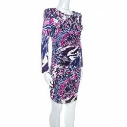 Emilio Pucci Multicolor Abstract Print Silk Jersey Ruched Detail Dress M 244258