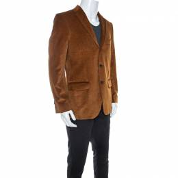 Salvatore Ferragamo Tan Corduroy Regular Fit Blazer L 245248