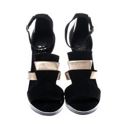 Salvatore Ferragamo Black Suede and Gold Leather Lexus Platform Sandals Size 39.5 242861