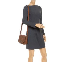 Carolina Herrera Brown Leather Crossbody Flap Bag 241721
