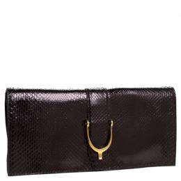 Gucci Metallic Python Leather Stirrup Clutch 242745