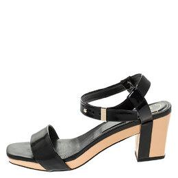 Roger Vivier Black Leather Ankle Strap Sandals Size 37.5