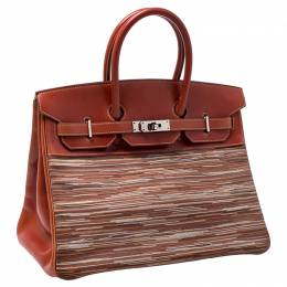 Birkin Brique Vibrato and Calf Box Leather Palladium Hardware Birkin 35 Bag Hermes 243375