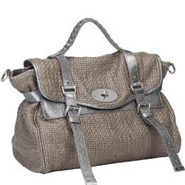 Mulberry Brown/Silver Metallic Cotton Weave Alexa Bag 234560