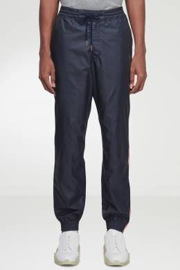 Темно-синие брюки-джоггеры с отделкой Thom Browne 2875165534
