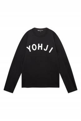 Черный лонгслив с белым логотипом на груди Y-3 1044166192