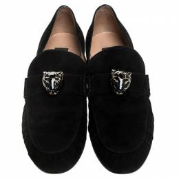 Valentino Black Suede Panther Detail Slip On Loafers Size 39 245653