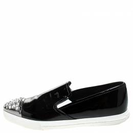Miu Miu Black Patent Leather Embellished Slip On Loafers Size 37