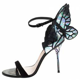 Sophia Webster Multicolor Patent Leather and Black Suede Chiara Butterfly Ankle Strap Sandals Size 38 245451