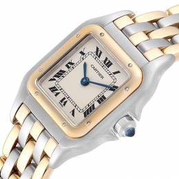 Cartier White 18K Yellow Gold Stainless Steel Panthere W25029B6 Women's Wristwatch 22x22 MM 245344