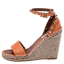 Valentino Orange Leather Rockstud Espadrille Wedge Sandals Size 35 245126