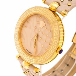 Versace Beige Rose Gold Plated Stainless Steel Vanitas VK7 Women's Wristwatch 40 mm 245727