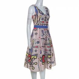Peter Pilotto Multicolor Printed Patterned Crepe Sleeveless Dress S