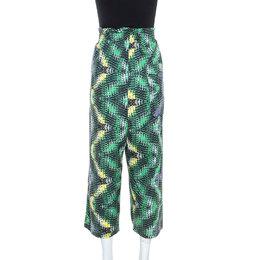M Missoni Multicolor Printed Cotton Wide Leg Pants S 243711