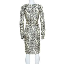 Marni Light Yellow Printed Silk Long Sleeve Dress M 244376
