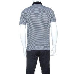 Prada Black & White Cotton Striped Polo T-Shirt M 245777