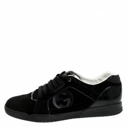 Gucci Black Suede And PVC Interlocking G Logo Low Top Sneakers Size 46 245201