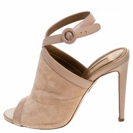 Aquazurra Beige Suede/Leather Open Toe Ankle Strap Sandals Size 37 Aquazzura 245743