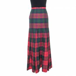 Versus Versace Red Plaid Cotton Pleated Maxi Skirt M 244347