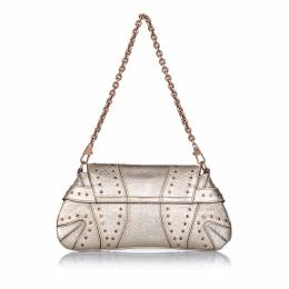 Gucci Metallic/Gold Horsebit Leather Chain Clutch 242576