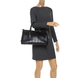 Jil Sander Black Perforated Boston Bag 241696