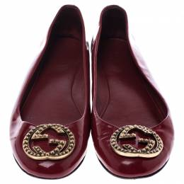 Gucci Red Leather Studded Interlocking GG Ballet Flats Size 36.5 241976