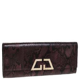 Gucci Burgundy/Black Snakeskin G Night Flap Clutch 241717