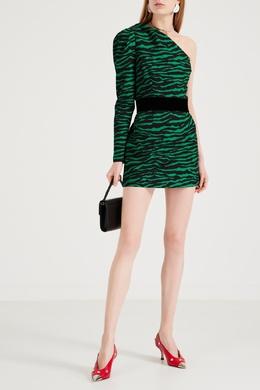 Платье мини с зеленым зебровым принтом P.a.r.o.s.h. 393166282