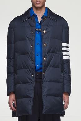 Темно-синяя стеганая куртка с отделкой Thom Browne 2875165527