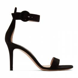 Gianvito Rossi Black Suede Portofino 85 Sandals 201090F12501203GB