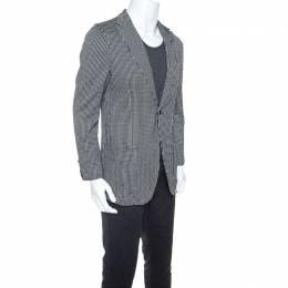 Giorgio Armani Monochrome Geometric Pattern Jersey Blazer L 245952