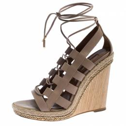 Aquazzura Beige Leather Lace Up Amazon Wedge Sandals Size 37 243492