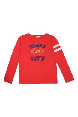 Красный лонгслив с вышивкой и надписями Miki House 3018166008