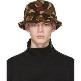 Burberry Brown Fleece Monogram Bucket Hat 201376M14001903GB