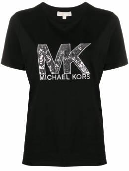 MICHAEL Michael Kors футболка с логотипом из пайеток MH95MCE97J001