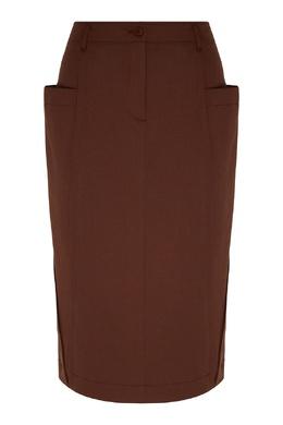 Коричневая миди-юбка из полушерстяной ткани Alberta Ferretti 1771157670