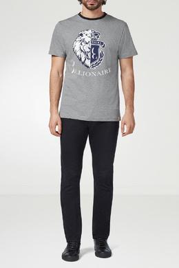 Серая футболка с бело-синим узором Billionaire 1668155407