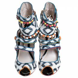 Sophia Webster Multicolor Strappy Leather Beaded Caged Sandals Size 39 246205