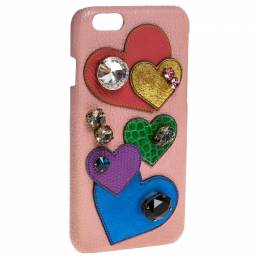 Dolce&Gabbana Multicolor Leather Heart Crystal Embellished iPhone 6S Case