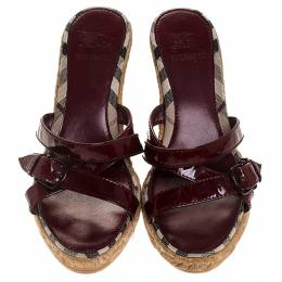 Burberry Red Patent Leather Espadrille Wedge Strappy Sandals Size 37 246396