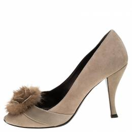 Sergio Rossi Beige Suede And Fur Bow Peep Toe Pumps Size 37.5