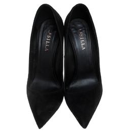 Le Silla Black Suede Pointed Toe Spiral Heel Pumps Size 39 245709