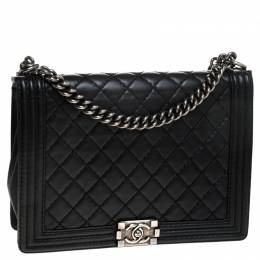 Chanel Black Quilted Leather Large Boy Flap Bag 244599