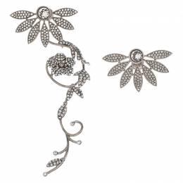 Burberry Half Daisy Crystal Silver Tone Clip-on Asymmetric Stud Drop Earrings 245799