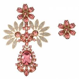 Burberry Pink Flower Crystal Gold Tone Clip-on Asymmetric Stud Drop Earrings 246514