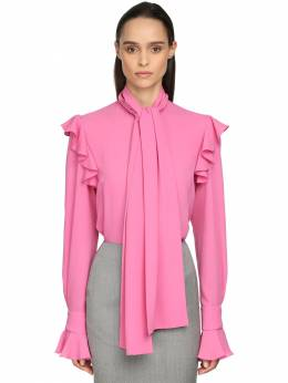 Georgette Blouse W/self-tie Bow Collar Alexander McQueen 71IG12045-NTAzNA2