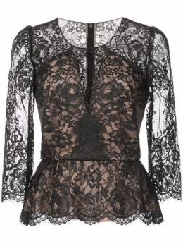 Marchesa Notte кружевная блузка с баской N23T0622