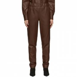 Tibi Brown Faux-Leather Pull-On Trousers 201095F08702703GB