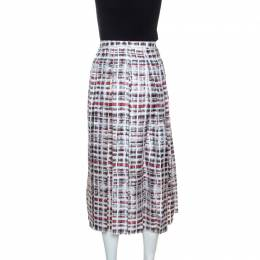 Burberry Red & White Printed Silk Farnborough Pleated Skirt L 245226